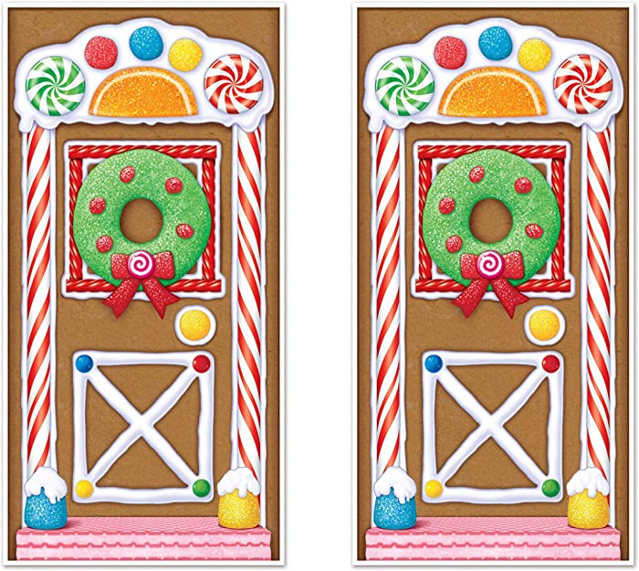 "Beistle Gingerbread House Door Covers 2 Piece Christmas Party Supplies, Winter Décor, 30"" x 5', Multicolored"