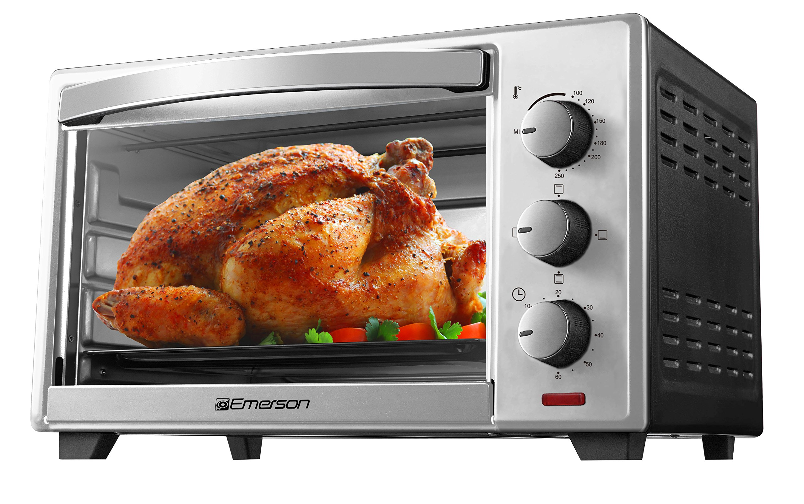 Emerson Stainless Steel 6 Slice, Convection and Rotisserie Countertop Toaster Oven, ER101003 by Emerson Radio