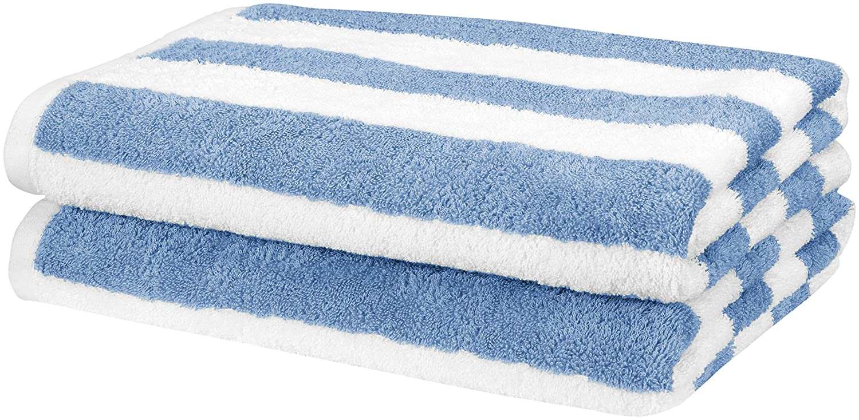 AmazonBasics Beach Towel - Cabana Stripe, Sky Blue, Pack of 2