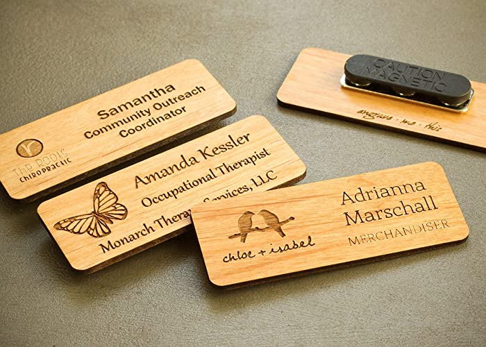 Amazon com: Wood Name Badge with Magnet Backing, Custom Engraved