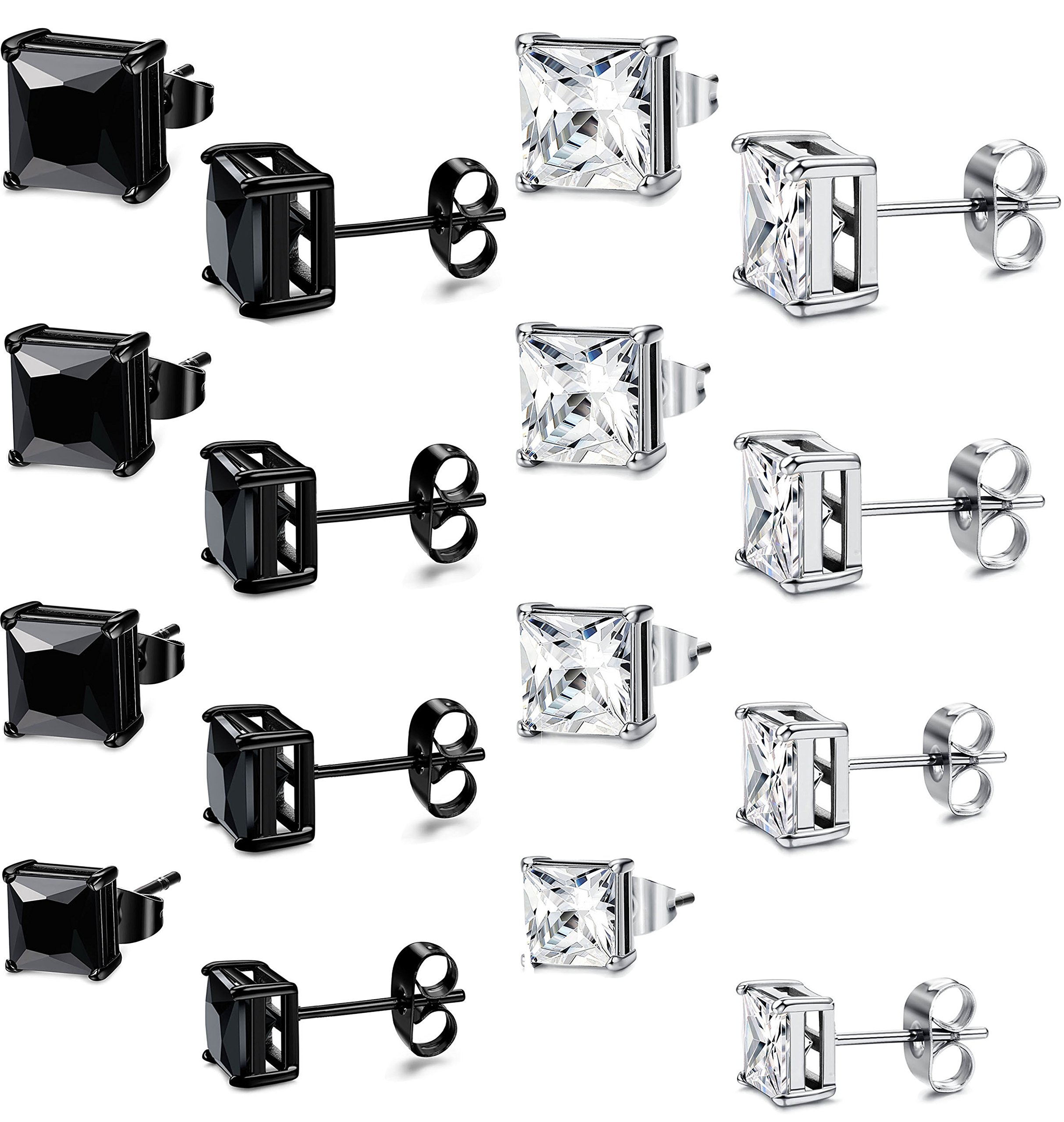 FIBO STEEL 8 Pairs CZ Stud Earrings for Women Men Stainless Steel Earrings Set,3-6MM