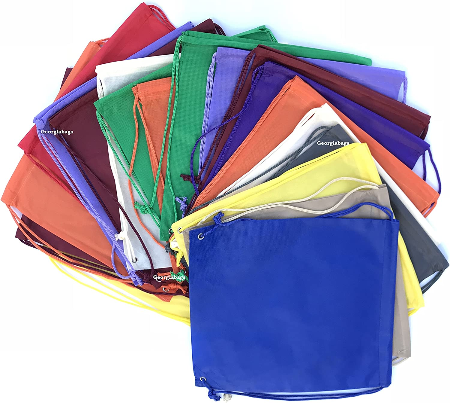 Mix Color-24 Pack Small Size Junior Cinch Packs Non-Woven Backpack Georgiabags Super Value Pack- Bright Color Drawstring Bags Promotional Bags