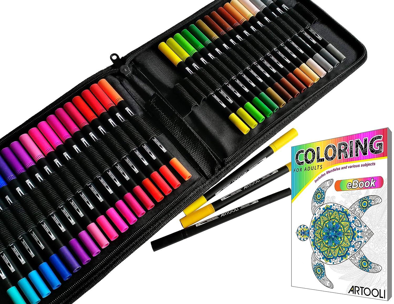 Dual Tip Brush Pens Art Markers 36 Color Set Canvas Organizer Case Flexible Brush and 0.4mm Fineliner - Coloring Journaling Lettering Drawing Sketching Designing Illustration Planner Manga Doodling ARTOOLI