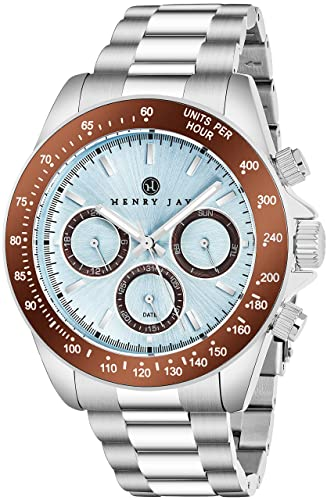 Henry Jay men's stainless steel multi-function specialty GMT aqua master  watch, day, date and tachymeter display