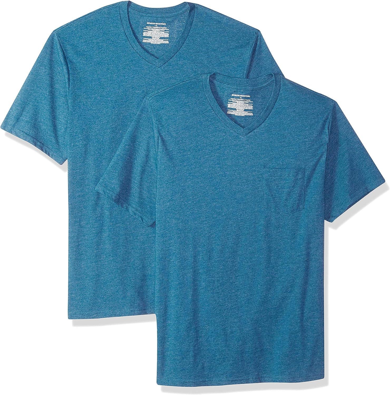 Pack de 2 camisetas de corte holgado con cuello en V y bolsillo en el pecho para hombre Essentials