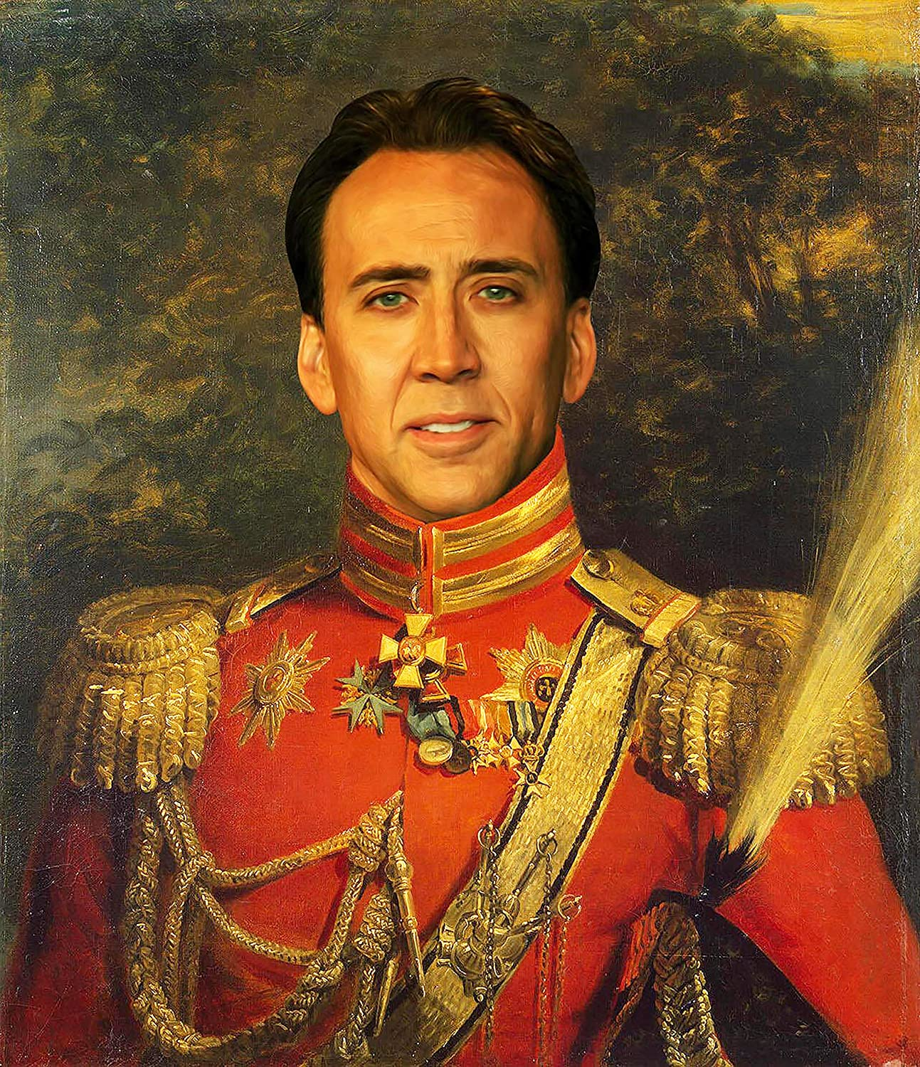 Nicolas Cage Poster - Funny Celebrity Art - Faux Oil Painting Print - Novelty Pop Culture Artwork Gift