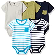 Hudson Baby Cotton Bodysuits, Blue/Olive 5 Pack, 3-6 Months (6M)