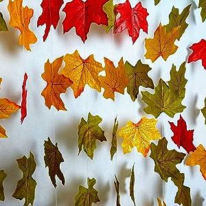 Fall Wedding decor, Fall Wedding Garland Backdrop, Fall Party Garland Decorations,Fall Leaf Bunting Banner, Thanksgiving Decor, Set of 4 Maple Leaf Garland for Holiday Decorations