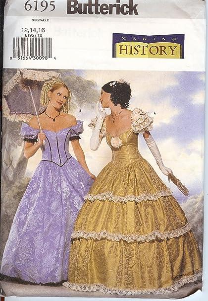 Amazon.com: Butterick Sewing Pattern 6195 Civil War Era / Victorian ...
