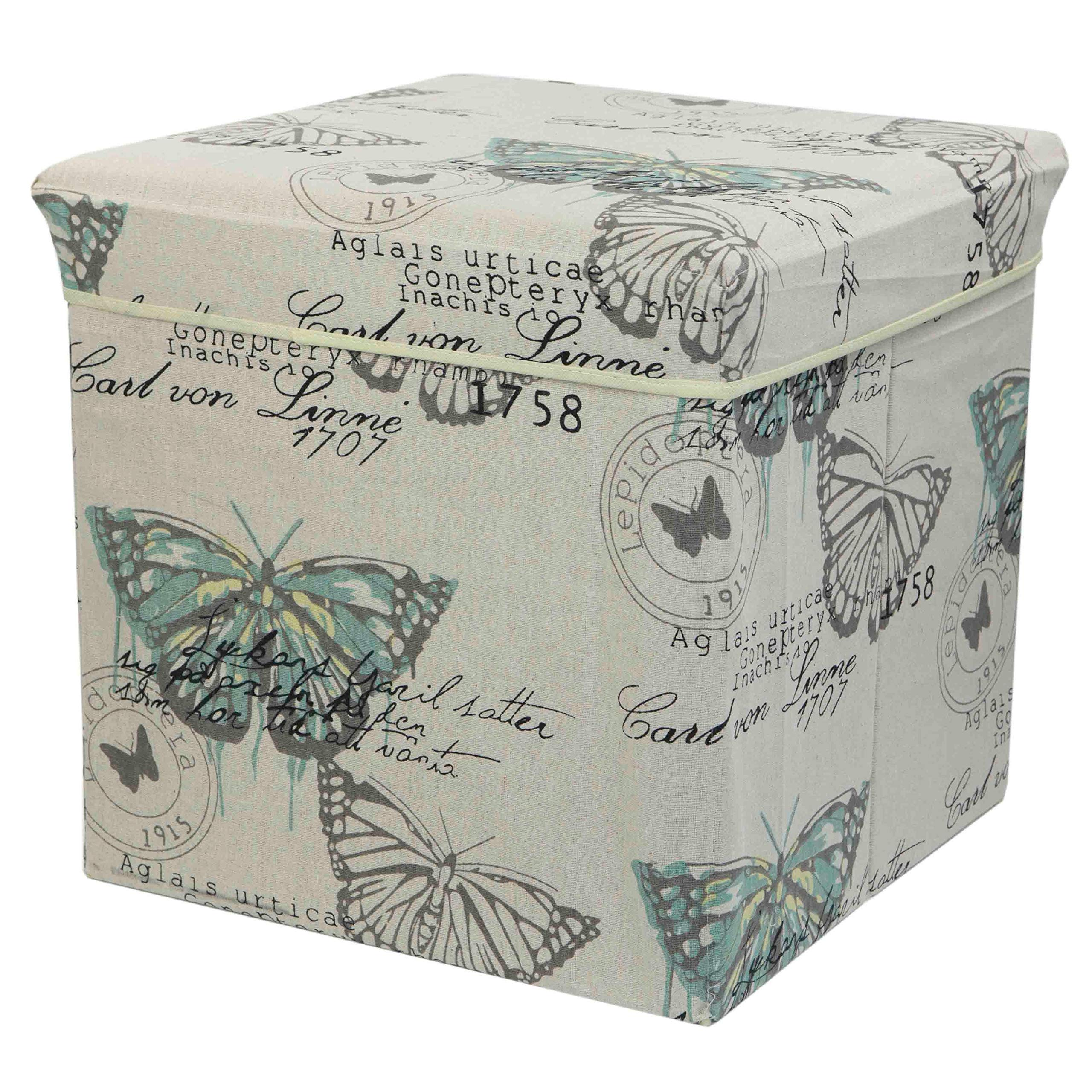 Home Basics Vintage Butterfly Collection Ottoman, SB47504