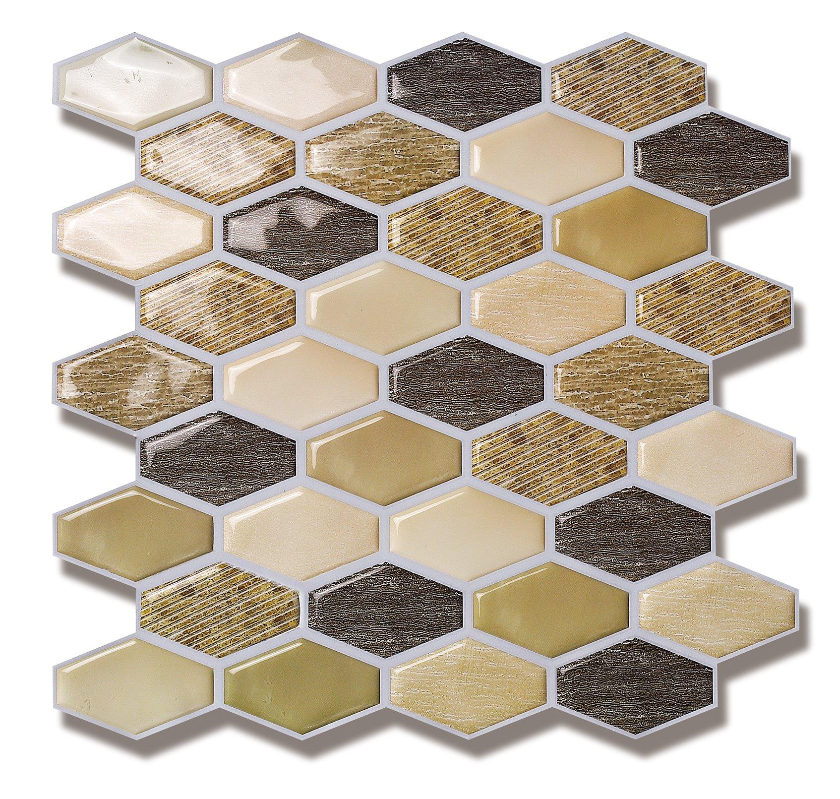 Peel and Stick Backsplash Tile for Kitchen in Beige (6 Tiles) by Backsplash World