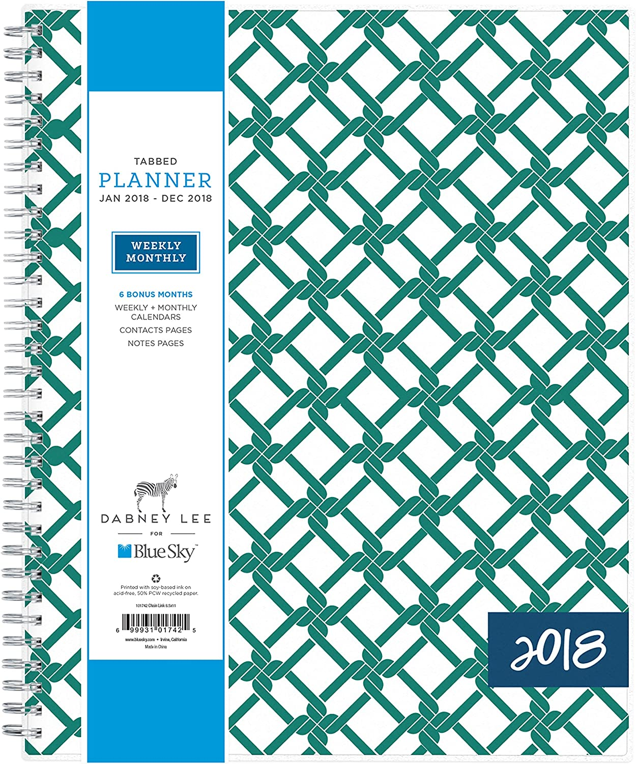 "Dabney Lee for Blue Sky 2018 Weekly & Monthly Planner, Twin-Wire Binding, 8.5"" x 11"", Chain Link"