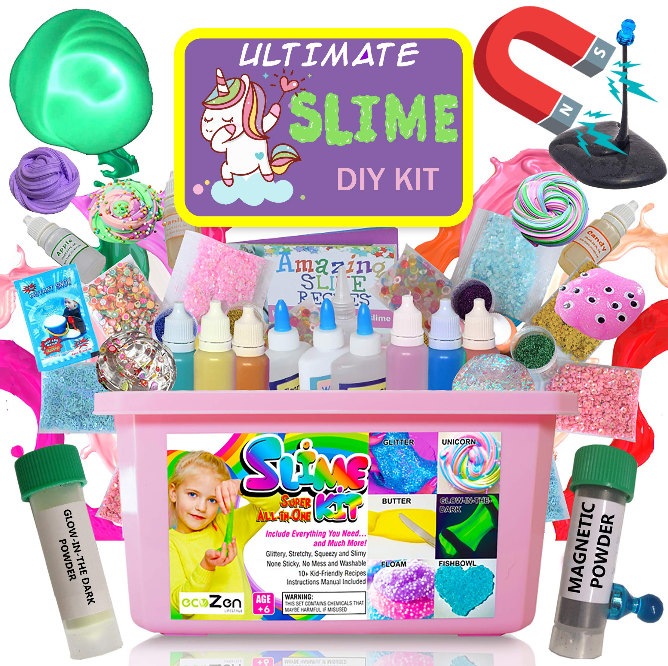 Ultimate Unicorn Slime Kit for Girls - Best Value Unicorn DIY Slime Supplies Kits for Making Tons of Various Fail-Proof Slimes - Perfect Birthday Toys Gifts for 7 8 9 10 11 12 Year Old Girls by ecoZen Lifestyle