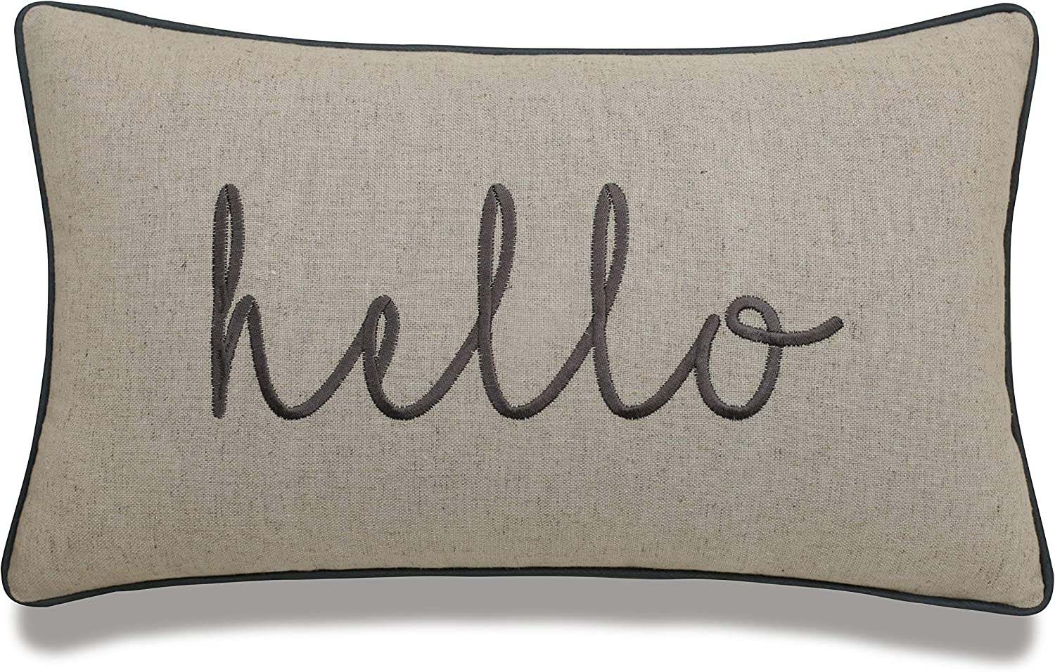 """DecorHouzz Embroidered Pillowcases Housewarming gift, Welcome cushion cover, Wedding gift, Apartment pillowcases, Funny Quote Pillow cover, throw pillowcase, new home gift (Hello(Natural), 12""""X20"""")"""