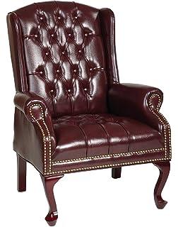 Office Star Traditional Queen Anne Style Vinyl Chair, Jamestown