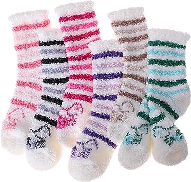 Girls Womens Fuzzy Socks 6 Pairs Soft Fluffy Cabin Fleece Warm Plush Cozy Winter Sleep Stocking Stuffers Adult Christmas Slipper Socks