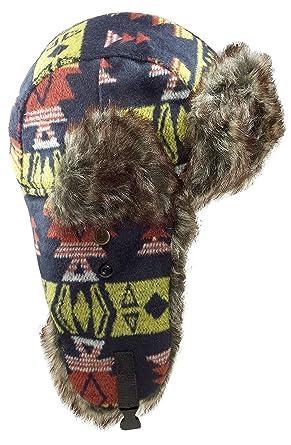 c66215abd09 Dakota Dan Mens Nassak Yellow Trapper Cap Hat w  Faux Fur Lining (Multi)