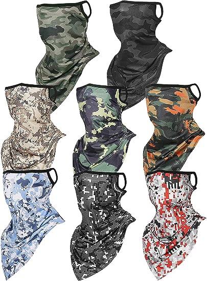 Satinior Gesichtsbedeckung Schal Bandana Ohrschlaufen Sturmhaube Unisex Kühlende Halstücher Schal Schild 8 Designs 8 Stück Armee Camouflage Bekleidung