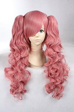Cosplay peluca rosa peluca larga de color rosa peluca rizada Pelucas