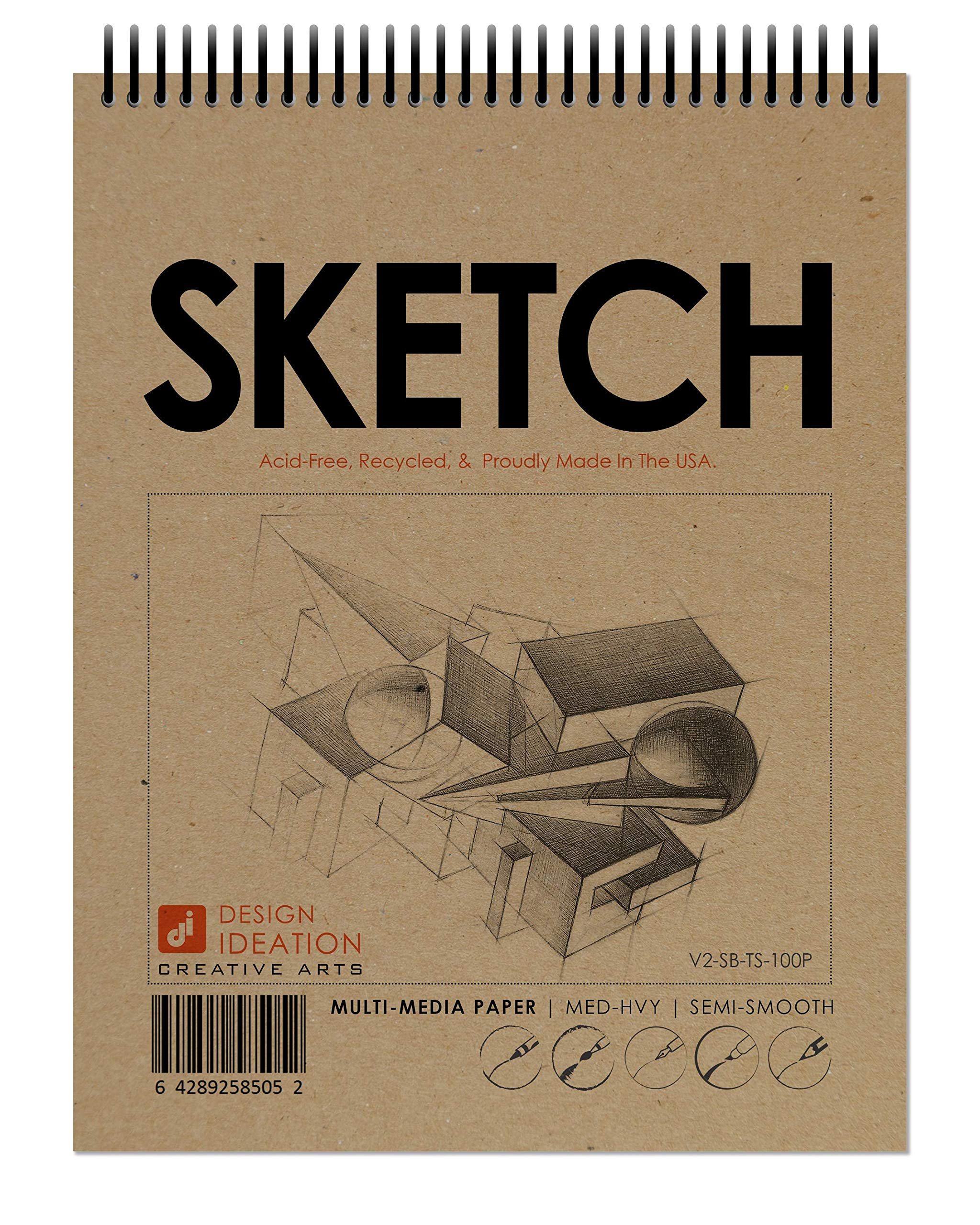 Design Ideation Sketch Book. Spiral Bound, Multi-Media Paper Sketchbook for Pencil, Ink, Marker, Charcoal and Watercolor Paints. Great for Art, Design and Education. (8.5'' x 11'') (10 Books) by Design Ideation