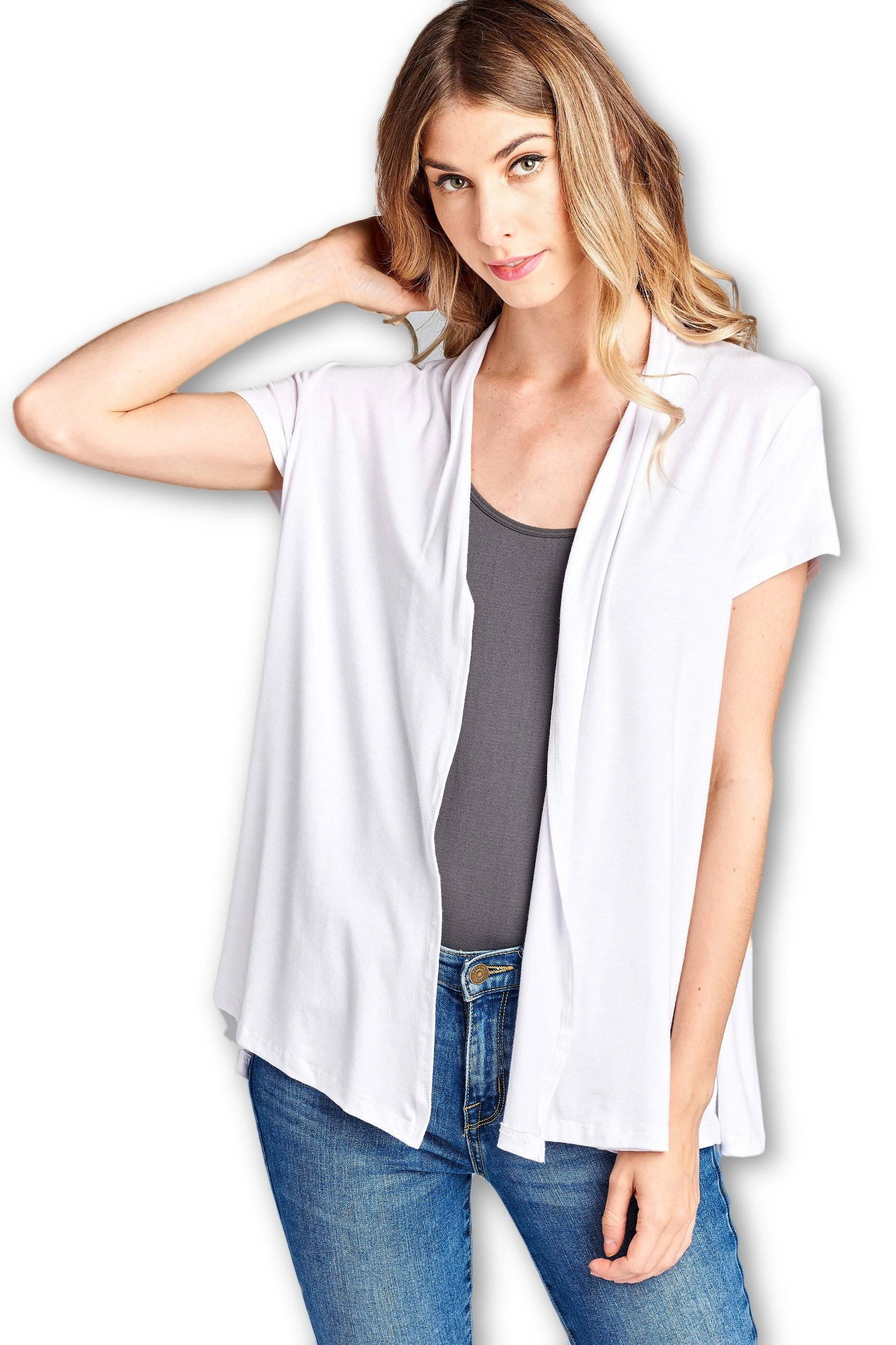 ReneeC. Women's Extra Soft Natural Bamboo Short Summer Cardigan - Made in USA (Medium, White)