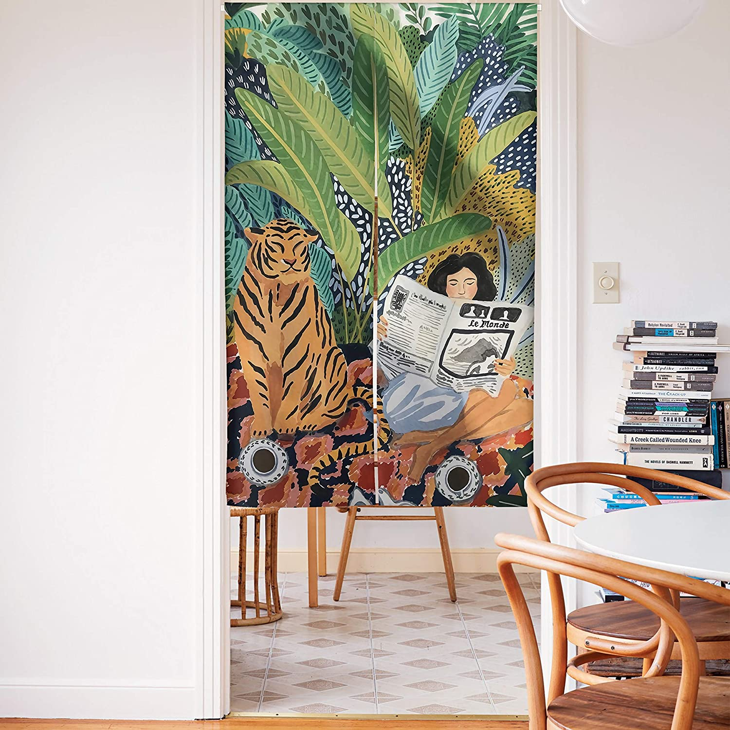 Spanker Space Artist Colorful Design A Lovely Tiger Sit by A Lady Japanese Noren Doorway Curtain Fabric Cotton Linen for Home Kitchen Door Decor 34 x 59 Inches
