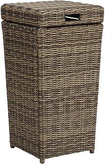 Crosley Furniture CO7306 WB Bradenton Outdoor Wicker Trash Bin   Weathered  Brown