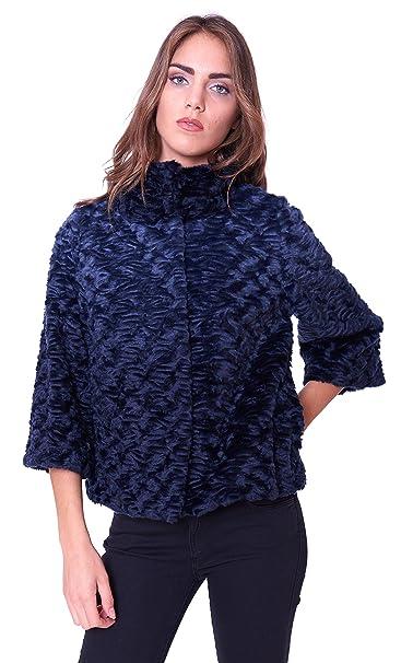 100% authentic 6551f a720a Pelliccia ecologica Luckylu donna corta blu PL05EP Blu ...