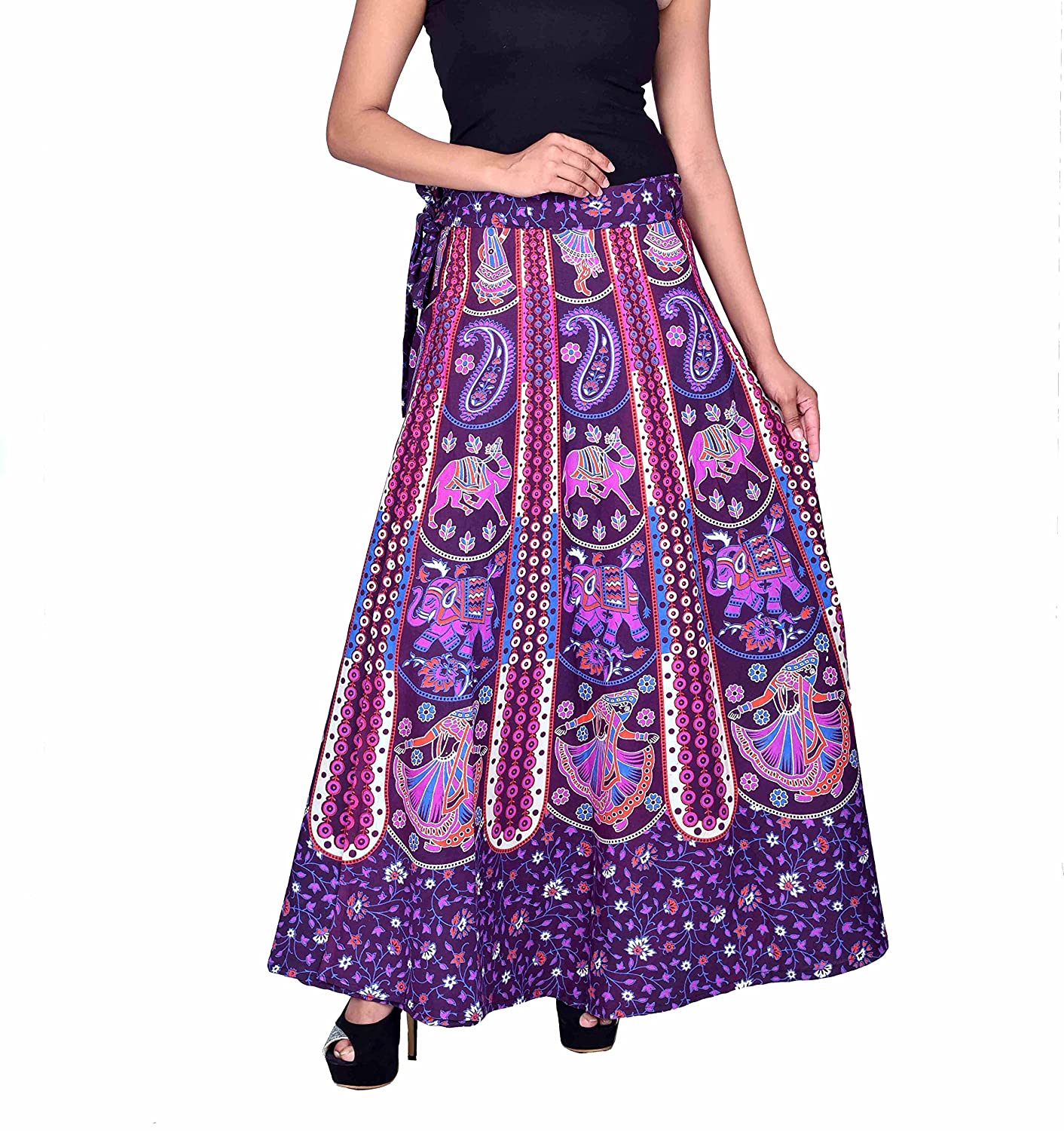 """fc646e83d0 Jaipur Skirt Women's Traditional and Stylish Cotton Printed Wraparound Skirt  (""""Assorted Colors and Assorted Designs"""" _ Free Size): Amazon.in: Clothing &  ..."""
