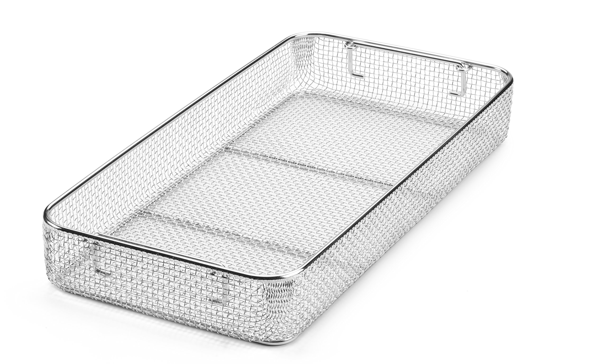 Key Surgical MT-9010 Mesh Tray with Drop Handles, Stainless Steel, 480 mm x 250 mm x 70 mm
