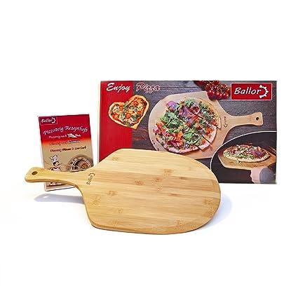 Ballor - Pala de pizza de bambú natural, también como pala de panadero y pala