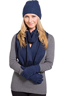 9f555c5a417 Fishers Finery Women s 100% Cashmere 3pc Hat Glove and Scarf Set  Gift Box