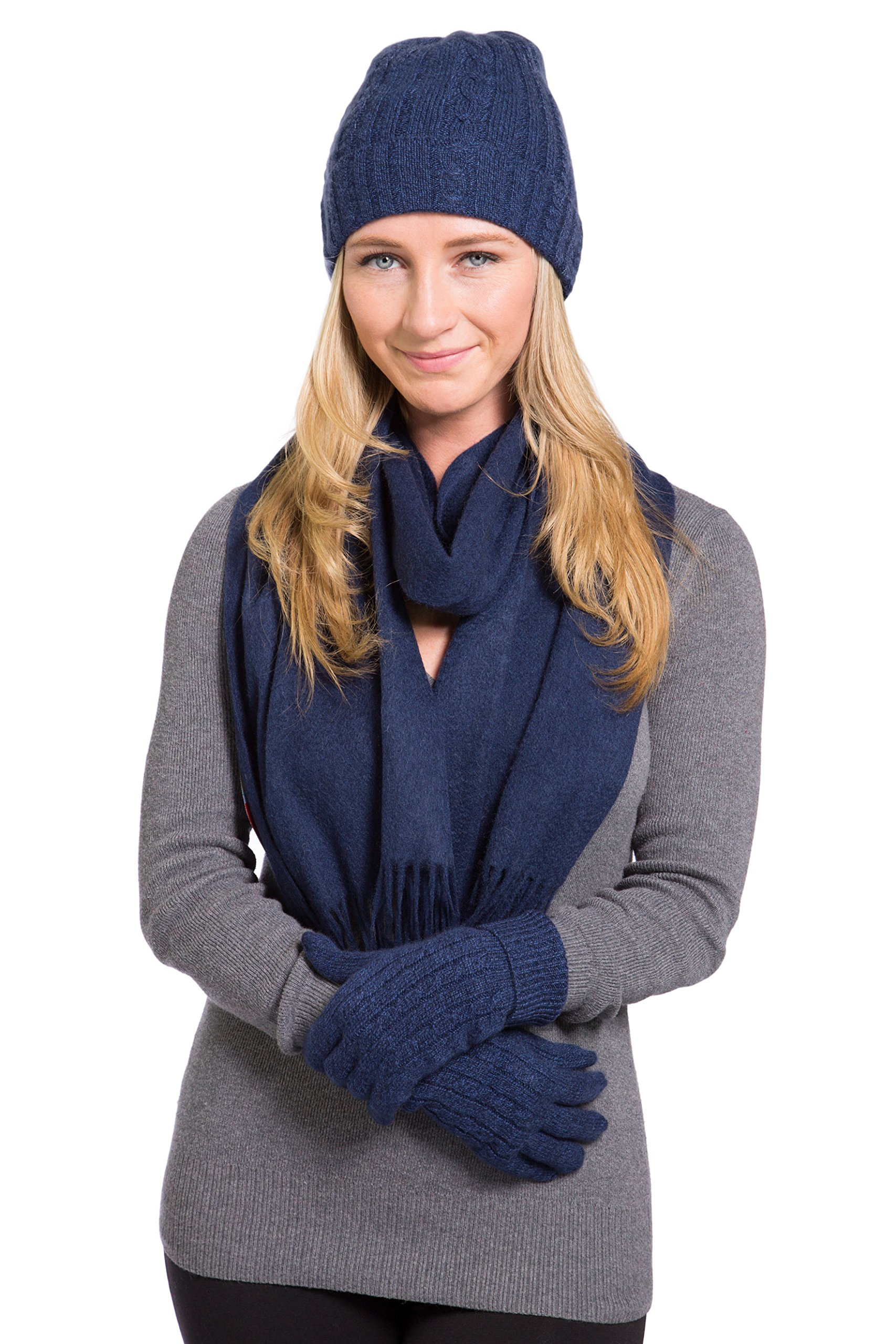 Fishers Finery Women's 100% Cashmere 3pc Winter Set; Gift Box (Hthr Nvy)