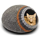 MEOWFIA Premium Felt Cat Bed Cave - Handmade 100% Merino Wool Bed for Cats and Kittens