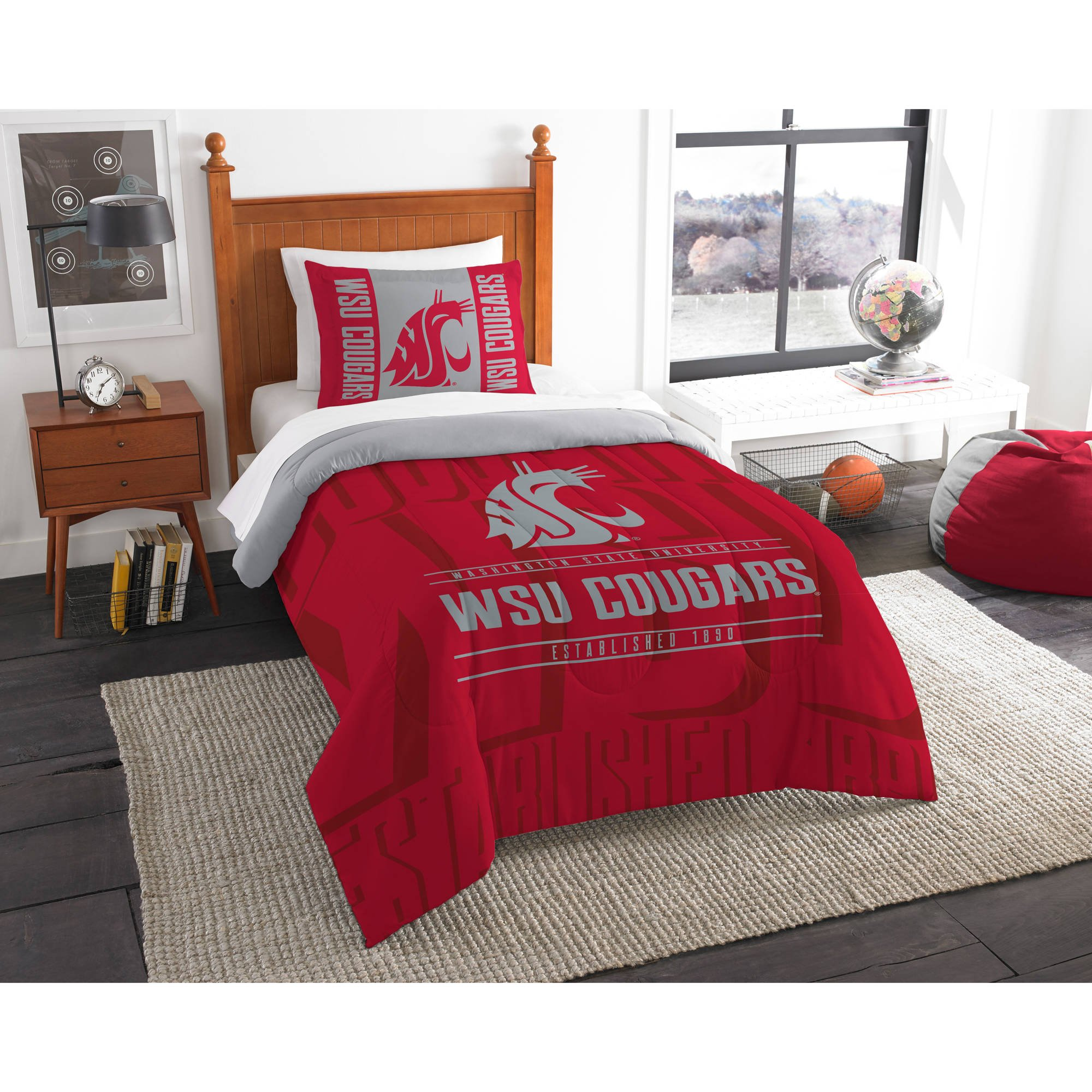 2 Piece NCAA Cougars Comforter Twin Set, Red Grey Multi Sports Patterned, College Football Themed Bedding, Team Logo Fan Merchandise Athletic Team Spirit Fan, Polyester, For Unisex