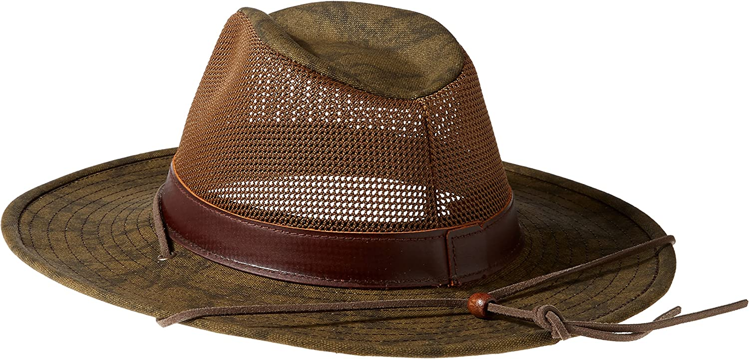 Henschel Mens Hiker Crushable Mesh Breezer with Leather Band UPF 50 Hat