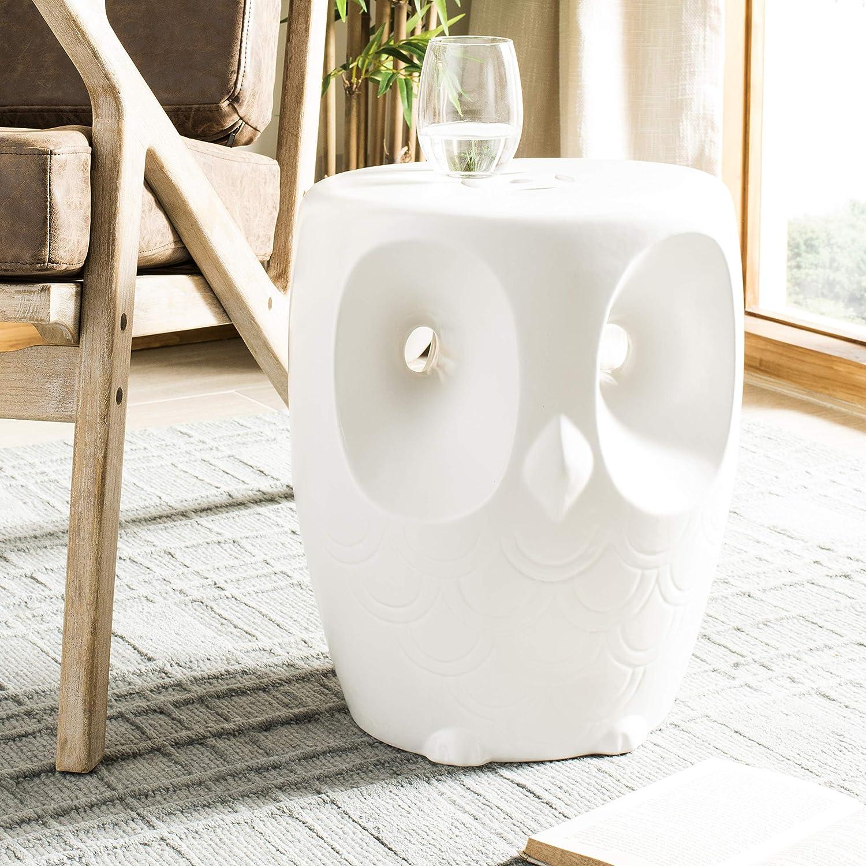 Safavieh ACS4567A Owl Ceramic Decorative Garden Stool, White: Garden & Outdoor