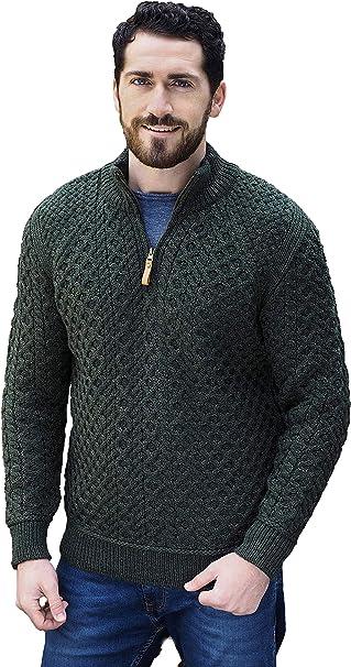 Charcoal, Large Merino Wool Irish Half Zip Aran Sweater