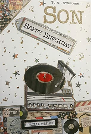 To An Awssome Son Happy Birthday Music Themed Greeting Card