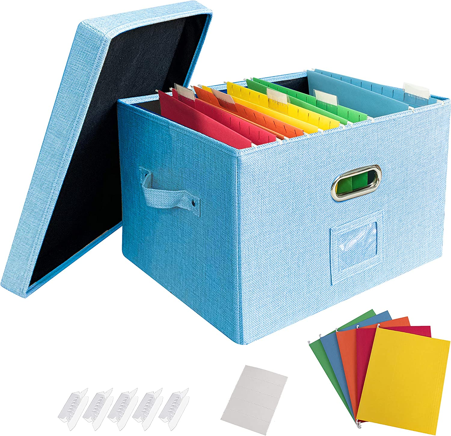 JSungo File Organizer Box Office Document Storage with Lid, Collapsible Linen Hanging Filing Organization, Home Portable Storage with Handle, Letter Size Legal Folder, Blue
