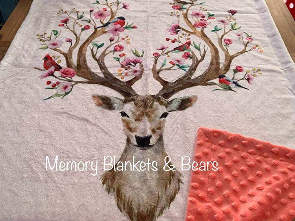 Mountaineer with Black Deer Head Rustic Minky Blanket You Choose Size MADE TO ORDER