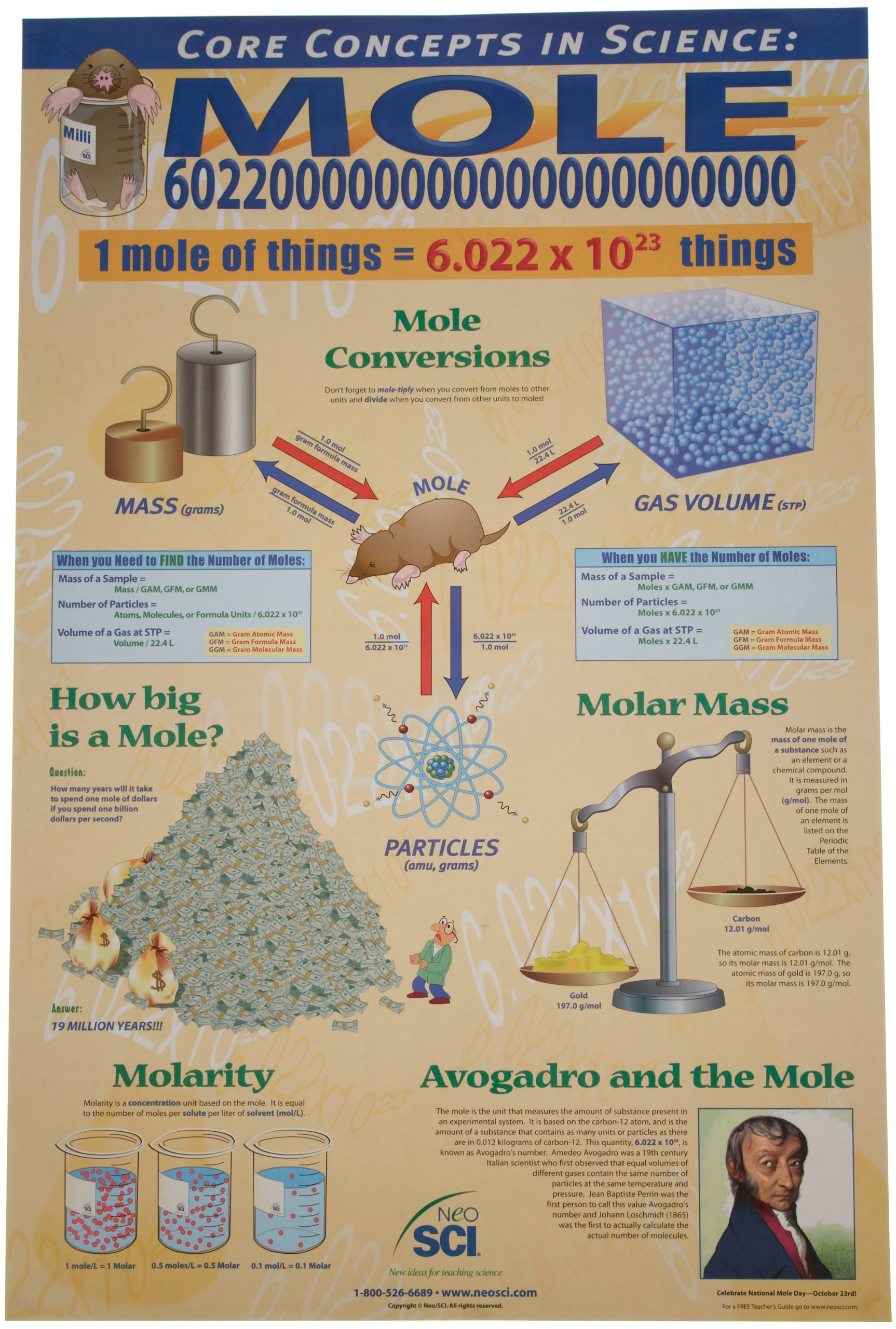 Neo Sci Cornerstones of Chemistry with The Mole Laminated Poster, 23'' Width x 35'' Height