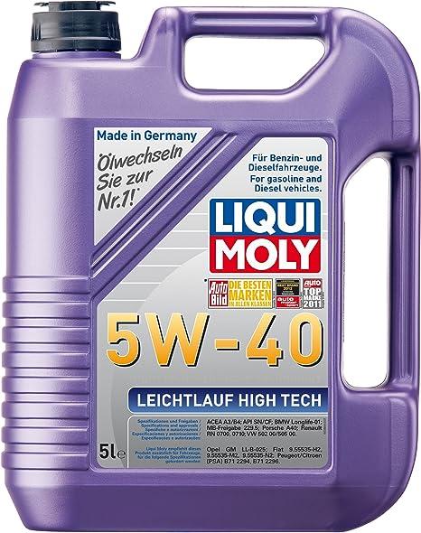 Liqui Moly 3864 Leichtlauf High Tech 5W-40 - Aceite antifricción con tecnología HC para