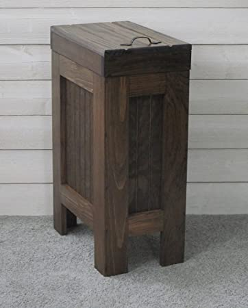 Rustic Wood Trash Bin, Kitchen Trash Can, Wood Trash Can, Dog Food Storage