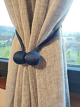 MARKET07 Abrazadera para Cortina - Bolas con imán para Sujetar Las Cortinas de Diferentes Formas - Set de 2 Cuerdas (Azul Claro): Amazon.es: Hogar