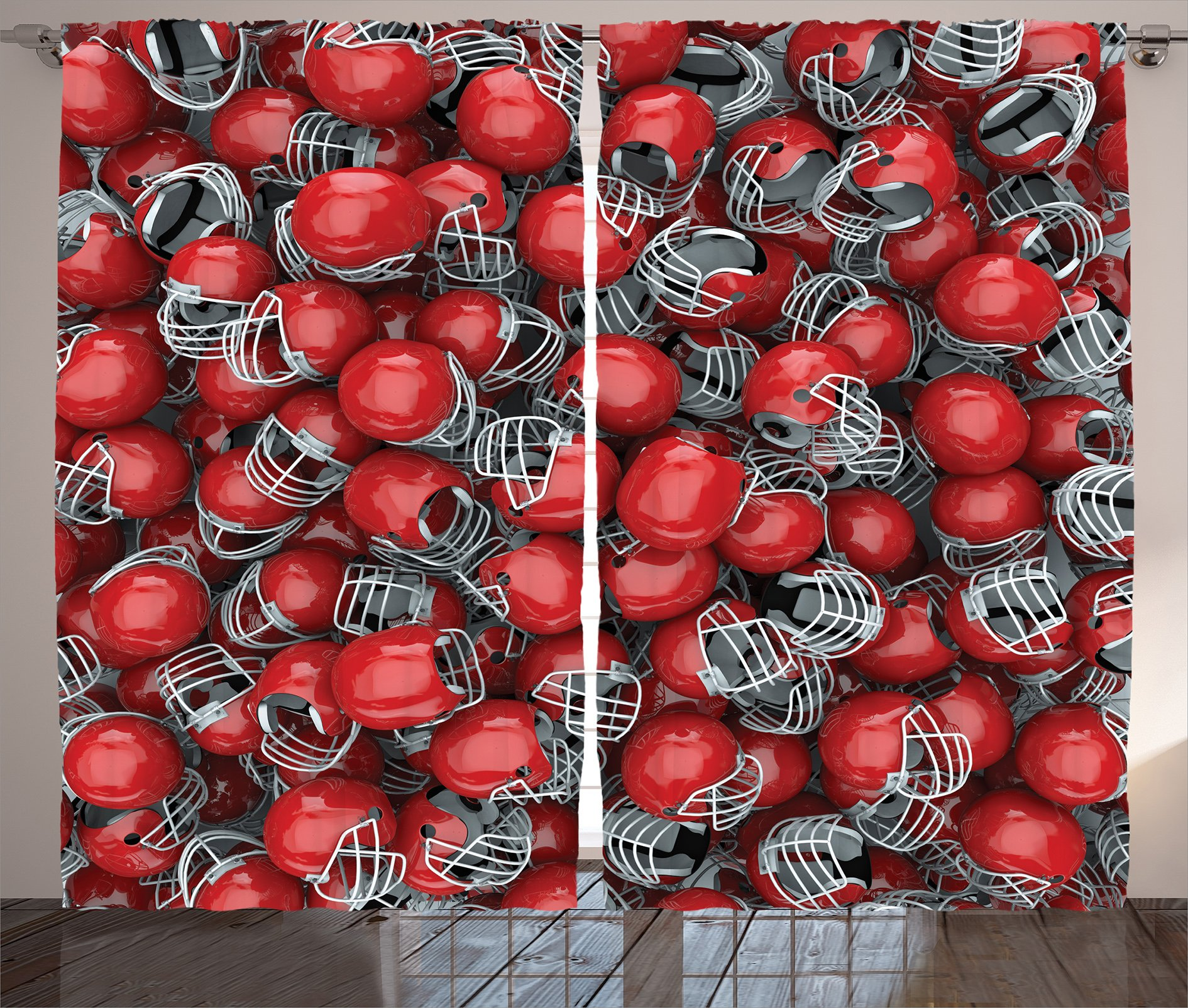 Ambesonne Sports Decor Collection, College Football Helmets Headgear Competition Defense Sportsman Image Pattern, Living Room Bedroom Curtain 2 Panels Set, 108 X 90 Inches, Red and Dimgray