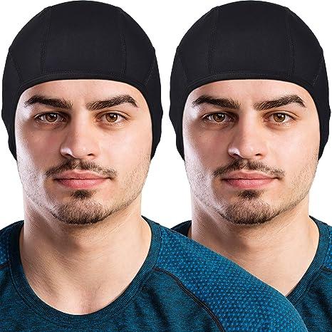 GearTOP Skull Cap Helmet Liner Running Beanie (2 Pack Black)