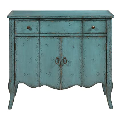 Ordinaire Pulaski P017011 Distressed Turquoise Accent Chest, Blue
