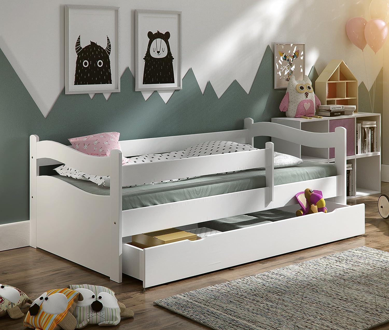 Kinderbett Jugendbett 140x70 oder 160x80 Massivholz Matratze Matratze Matratze Schublade Lattenrost (140x70, Weiß) d1327a