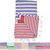 Amalfi Denim Red Turkish Towel for Bath & Beach Swimming Pool Yoga Pilates Picnic Blanket Scarf Wrap - Peshtemal Hammam Fouta by The Riviera Towel Company